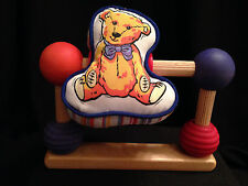 Vintage Style Baby Infant Spinning Wooden Spindles Cloth Bear Toy Rattles Gift