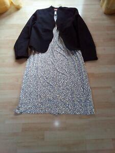 Damenkleid  Farbe:creme gemustert, mit schwarzem Bolero-Jäckchen Gr.48