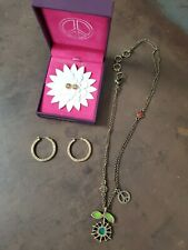 Lucky Brand Lot 2 Earrings & Necklace Gold Tone Peace Sign Flower