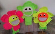 "Set of 3 Blacklight Field Flower Puppets 15 "" round-Ministry,Teachers, Education"