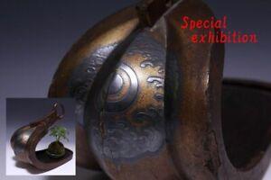 Japan Antique Edo gold abumi horse stirrups Vase Kura yoroi samurai katana Busho