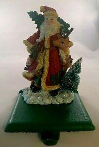 "Handpainted Christmas Stocking Hanger ""Santa Holding Raindeer"""