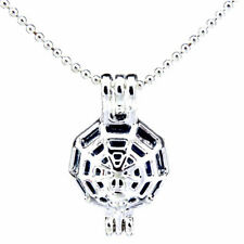 L222 Bright Silver Round Spider Web Locket Beads Cage Pendant Necklace Women