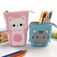 Canvas Cartoon Cute Cat Telescopic Pencil Pouch Bag Stationery Pen Case Box