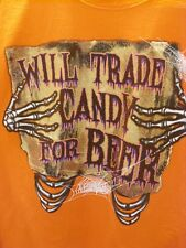 Halloween Orange T-Shirt - Will Trade Candy For Beer Size Large