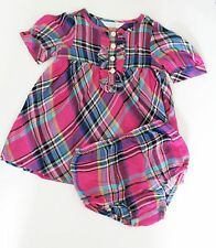Ralph Lauren Baby Girls Cotton Plaid Dress & Bloomer Pink Multi Sz 18M - NWT