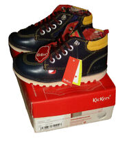 New kids boys Kickers Winterized navy blue hi zip ankle boots booties shoes 30