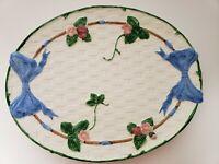 1985 Haldon Group Oval Serving Platter Blue Bow Basket Weave Strawberries Japan