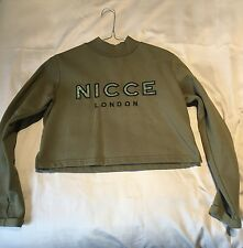 Nicce London Cropped High Neck Sweat With Front Logo - Khaki / S