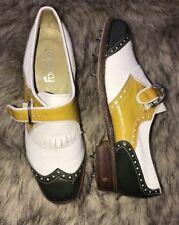 FOOTJOY Women Golf Strap Shoes Sz 6 B Green Yellow White Tool Steel Spike 59699D