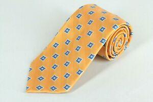 Jos A Bank Tie Golden Orange Blue & White Geo Woven Silk Necktie 58 x 3.5 in.