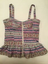 Ladies Valley Girl Zip Front Printed Top Size S in very good condition