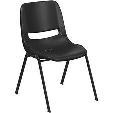 Flash Furniture Plastic Student Stack Chair-Black/Black Frame 17.25inW
