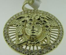 "10kt Yellow Gold CZ Medusa Head Medallion Charm Pendant 1.35"" 3.8 gms"