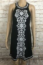 NWT INC International Concepts Dress Indian Summer Beaded Black White Size XS