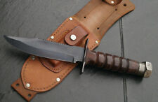 VINTAGE JET PILOT Knife Outdoor Coltello da caccia pelle Schelda Giappone? Solingen?