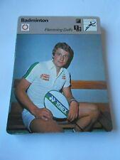 Fiche Card 1978  Badminton Flemming Delfs le meilleur revers du monde