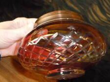 CRANBERRY CUT TO CLEAR GLASS DRESSER JAR COPPER BRASS LID STARS LATTICE