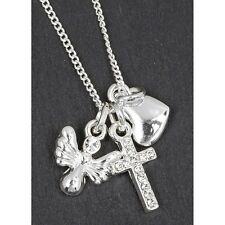 equilibrium silver plated angel wings charms cross heart necklace gift