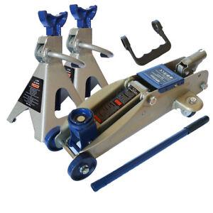 Cric/Sollevatore idraulico a carrello + Cavalletti/Jack 2 pz per auto 2,5T/2500