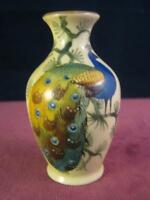 Antique Locke & Co Worcester Miniature Vase Hand Painted Signed Peacock  royal