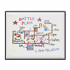 Battle Plan Poster Home Alone Movie Kevin McCallister Christmas Gift Wall Map