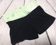 Pink Yoga Victorias Secret Shorts XS Black Green Tie-dye folded waist band