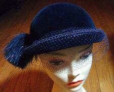 AURORE-France 1940s Cloche-Blue Silk Lyons Velvet on Wool Felt   Saks 5th Ave