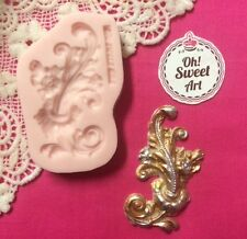 Medallion Vintage Scroll II silicone mold fondant cake decorating wax soap jewel