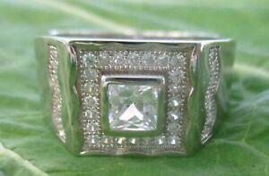 SPECIAL : REAL 925 sterling silver bezel Square CZ Ring size R-V 1/2 -  BOY MEN