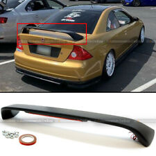 For 01-05 Honda Civic 2DR Primered Black Trunk Spoiler Wing LED Brake Light Lamp