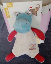 Doudou peluche hochet Hippopotame Les Papoum de Moulin Roty Neuf + cadeau offert