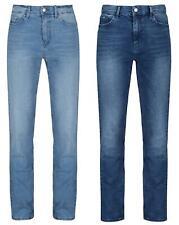 Ladies Straight Leg Womens Stretch Mid Rise Denim Jeans