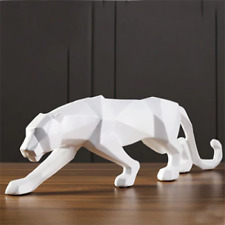 PANTHER STATUE Abstract Geometric Style Animal Figurine Sculpture Home Decor