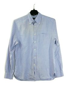 Gant Size Large Long Sleeve Button Up Oxford Fit Shirt Vertical Blue Pink Stripe