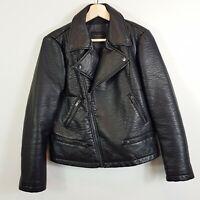 ZARA | Womens Black Faux Leather Jacket  [ Size XL or AU 16 / US 12 ]