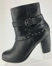 Blondo Ankle Boots Zip Buckle Black Aqua Protect Fashion Booties Womens US 7.5 M