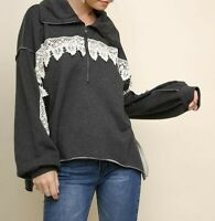 New Umgee Sweatshirt L Large Gray Crochet Lace 1/2 Zip Pullover Top Oversized