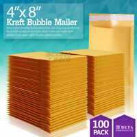 "100 #000 4x8 Kraft Paper Bubble Padded Envelopes Mailers Shipping Case 4""x8"""