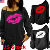 Women Lips Off Shoulder Sweatshirt Casual Long Sleeve T-Shirt Loose Top Blouse