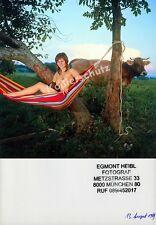 o. Farbfoto Hippie-Frau nackt Erotik Busen Hängematte Natur Kuhweide Bayern 1969