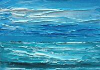 "DEEP TURQUOISE OCEAN Oil ACEO Seascape Painting 2.5""x 3.5"" Julia Garcia Art NEW"