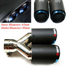 "Carbon Fiber+Stainless Steel Exhaust Dual Tip Blue Steel Car 2.5"" Muffler Pipe"