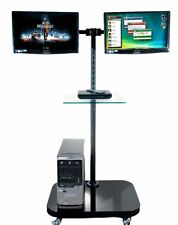 FS948 Twin Monitor Floor Stand for 2 LCD Monitors/ TVs w/ Glass Shelf