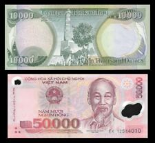 Iraq Dinar 10,000 +  A Free 50,000 VietNam Dong With Purchase - Set Of 1 Each