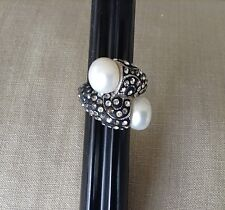 CFJ 925 Twisted Cable Pearl + Marcasite Cocktail Ring Size 4 3/4
