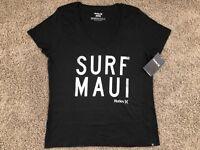BRAND NEW HURLEY NIKE WOMEN'S T SHIRT TEE V NECK SURF MAUI ALOHA HAWAII BLACK WH