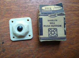 Vintage Mid Century Cream Bakelite Push Button Intermittent Doorbell Button NIB