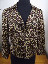Patrick Christopher Womens SMALL Leopard Pattern Stretch Lined Full Zip Jacket S
