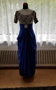 Angel Fashions Abendkleid Damen Gr. S lang Blau/ Marine mit Spitze